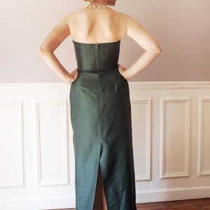 CONCORDE - Robe bustier corsetée fourreau en doupion de soie.