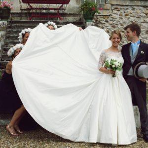 CAMILLE - Robe en satin duchesse et dentelle de calais avec un voile de 4 mètres bordé de dentelle assortie